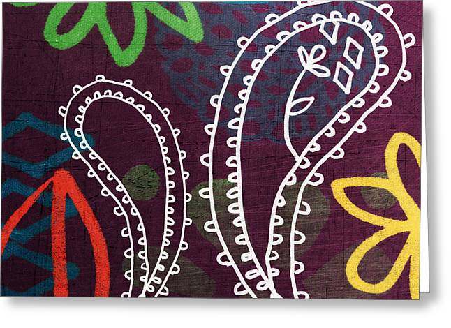 Green And Yellow Abstract Greeting Cards - Purple Paisley Garden Greeting Card by Linda Woods