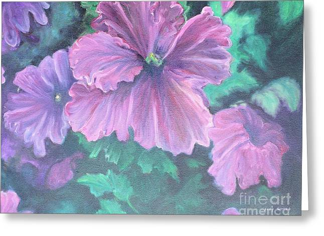 Green Day Paintings Greeting Cards - Purple Passion  Greeting Card by Judy Groves