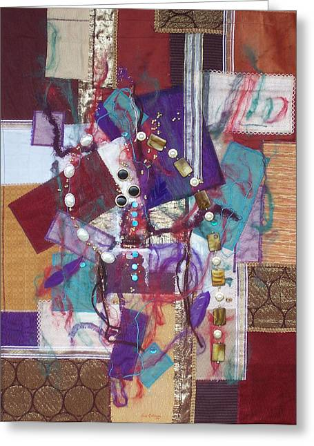 Red Abstracts Tapestries - Textiles Greeting Cards - Purple Passion Greeting Card by Sue Gilliam