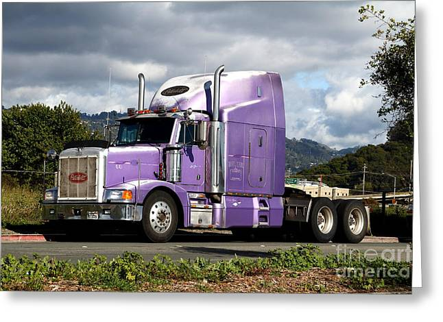 Eastbay Greeting Cards - Purple Peterbilt Big Rig Truck . 7D15085 Greeting Card by Wingsdomain Art and Photography