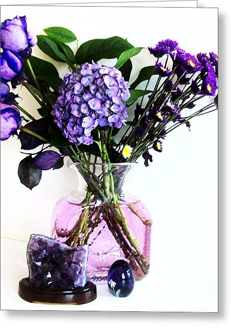 Flower Still Life Prints Greeting Cards - Purple Picture Perfect Greeting Card by Marsha Heiken