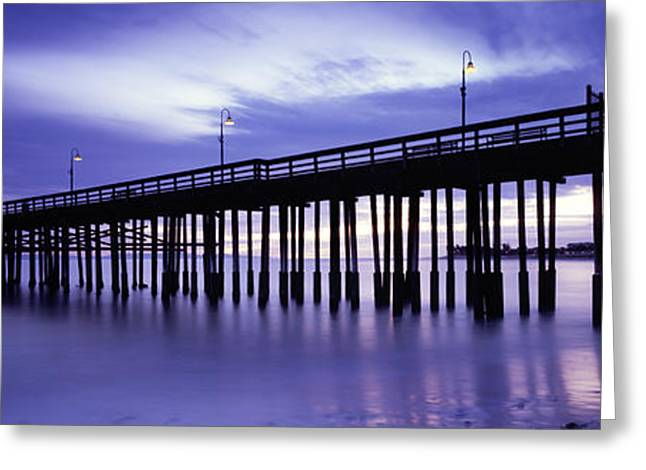 Panoramic Ocean Greeting Cards - Purple Pier Greeting Card by Steve Munch