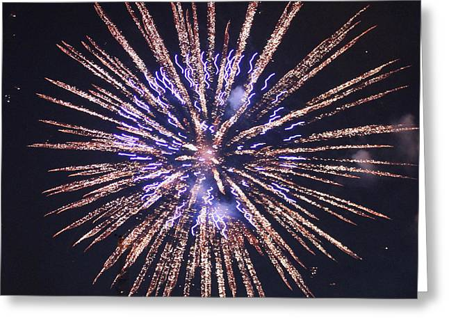 Purple Fireworks Greeting Cards - Purple Pizazz Greeting Card by Suzanne Gaff