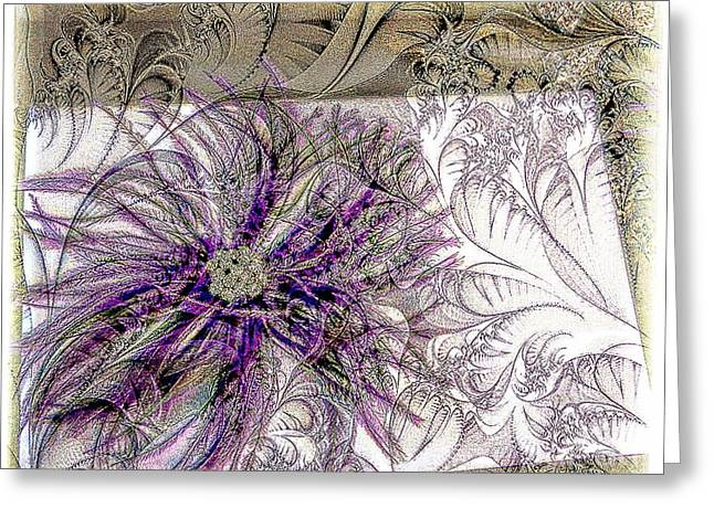 Purple Plume Greeting Card by Michelle Frizzell-Thompson