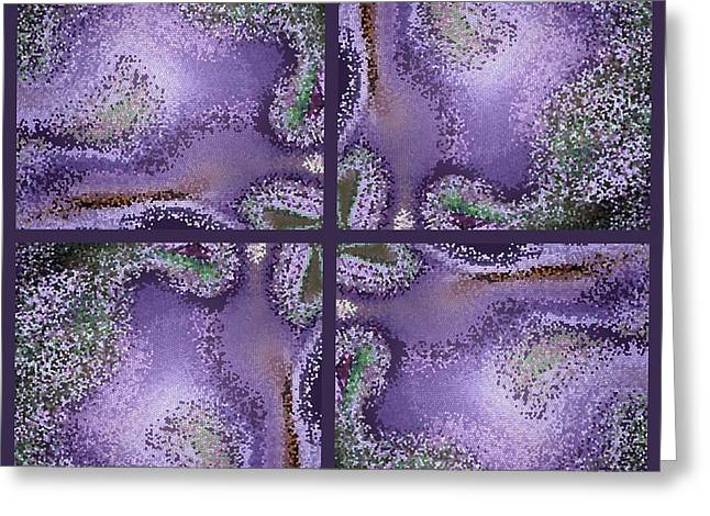 Purple Points Abstract Greeting Card by Carol Groenen