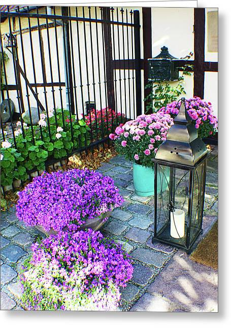 European Bicycle Shop Greeting Cards - Purple Porch Greeting Card by Jennifer Lam