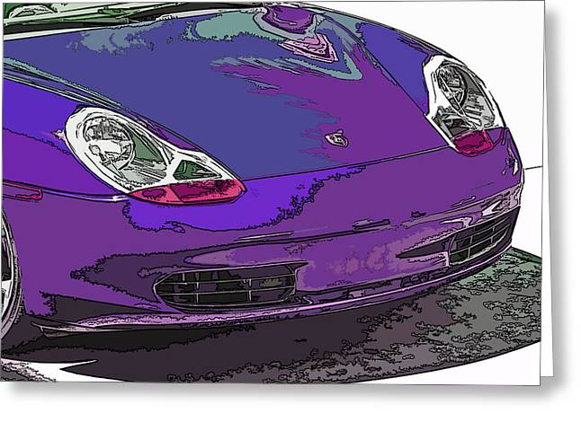 Sheats Greeting Cards - Purple Porsche Nose 2 Greeting Card by Samuel Sheats
