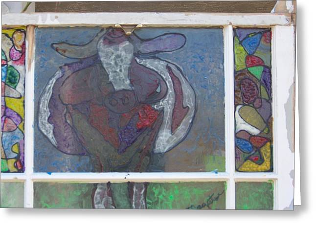 Glass Art Greeting Cards - Purple Round Cow Greeting Card by Maggie Cruser