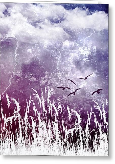 Purple Skies Greeting Card by Ellen Heaverlo