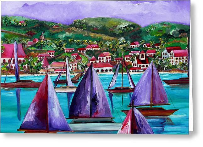 Purple Skies Over St. John Greeting Card by Patti Schermerhorn