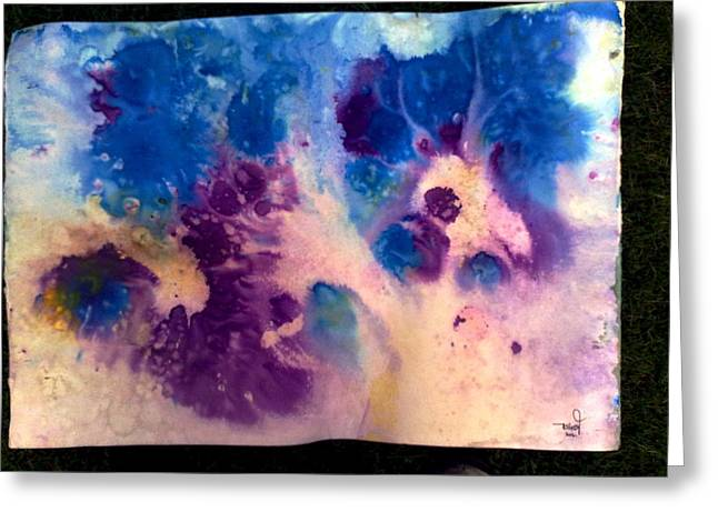 Abstract Rain Drawings Greeting Cards - Purple skies Greeting Card by Tis Art