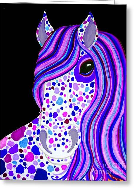 Spotted Horse Greeting Cards - Purple Spotted Horse Greeting Card by Nick Gustafson