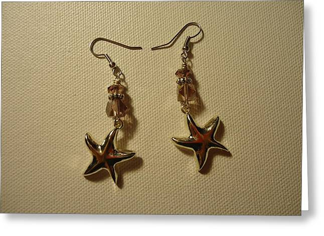 Sea Animals Jewelry Greeting Cards - Purple Starfish Earrings Greeting Card by Jenna Green