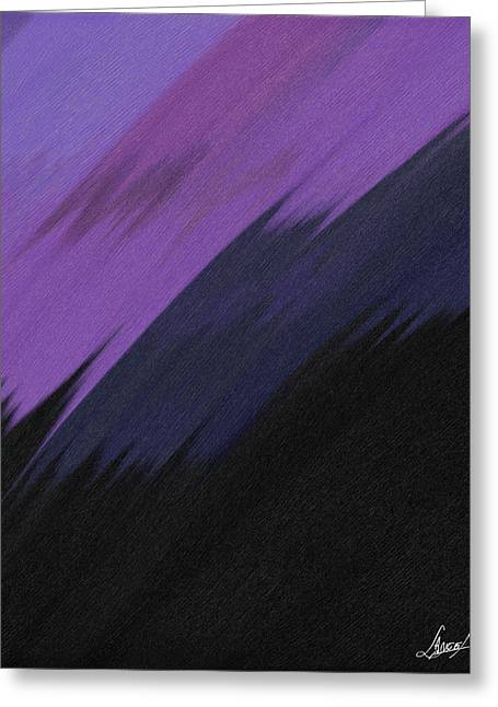 Abstract Digital Glass Greeting Cards - Purple Sunrise Greeting Card by Lance  Kelly