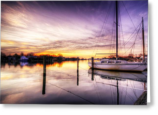 Babylon Greeting Cards - Purple Sunrise Greeting Card by Vicki Jauron