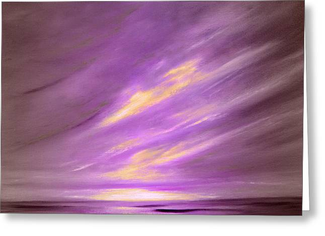 Sunset Posters Greeting Cards - Purple Sunset Greeting Card by Gina De Gorna