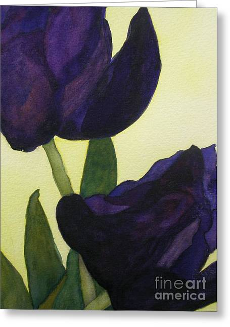 Purple Tulip Greeting Cards - Purple Tulips Greeting Card by Jeff Friedman