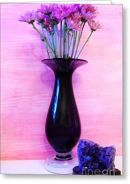 Purple Vase Greeting Card by Marsha Heiken