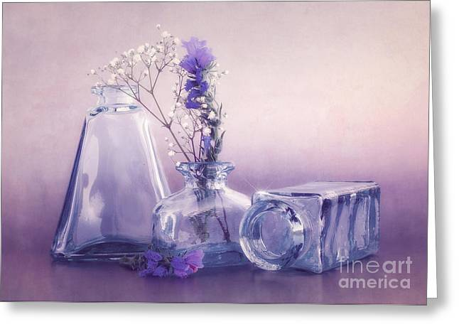 Glass Vase Greeting Cards - Purple Vases Greeting Card by Viaina