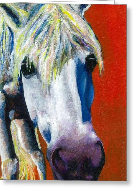 Abstract Equine Greeting Cards - Purple Velvet Greeting Card by Frances Marino