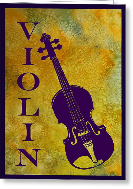 Purple Violin On Gold Greeting Card by Jenny Armitage