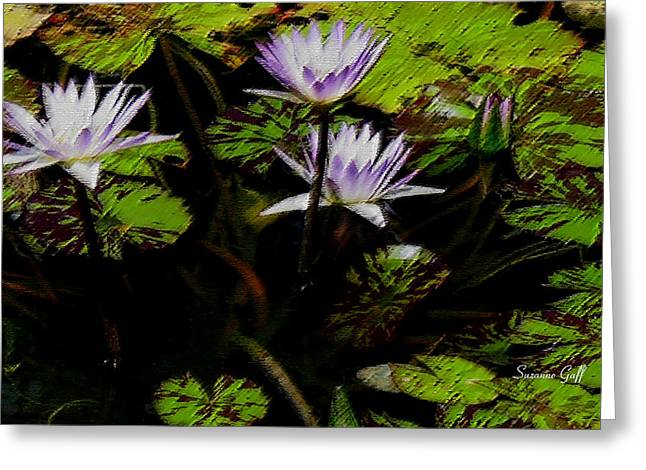 Water Garden Digital Art Greeting Cards - Purple Water Lilies in pastel Greeting Card by Suzanne Gaff