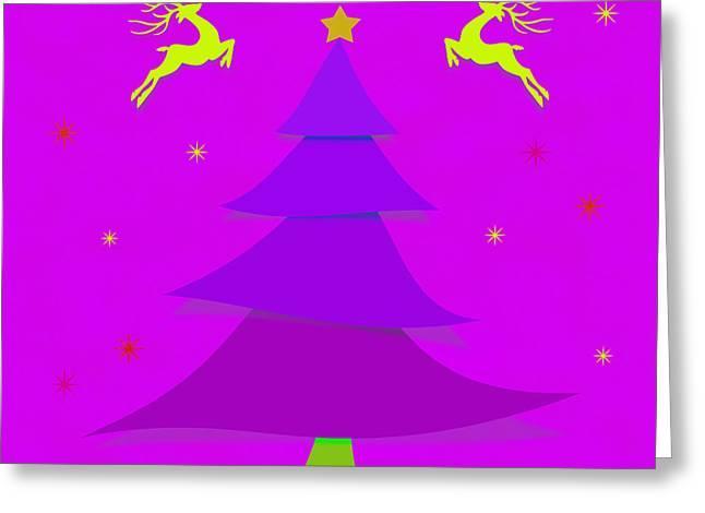 Eve Greeting Cards - Purple Xmas Greeting Card by Atiketta Sangasaeng