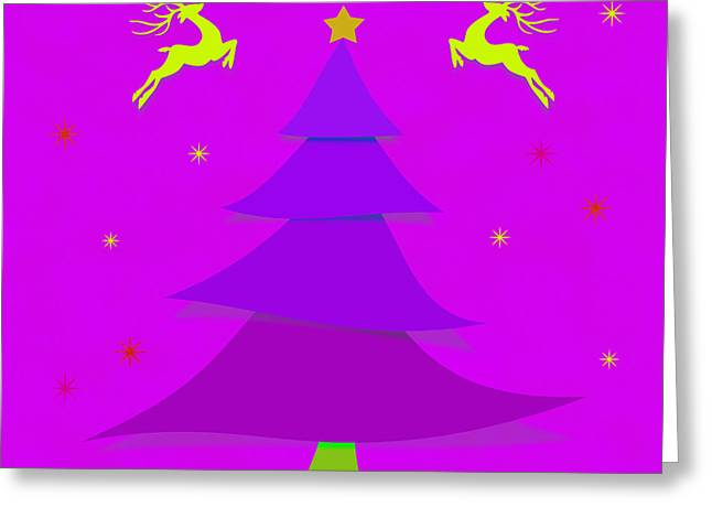 New Year Greeting Cards - Purple Xmas Greeting Card by Atiketta Sangasaeng