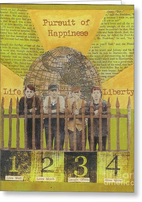 Desiree Paquette Mixed Media Greeting Cards - Pursuit of Happiness Greeting Card by Desiree Paquette
