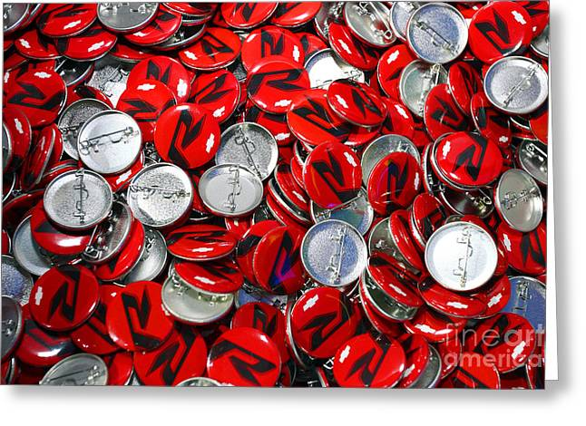 Replacing Greeting Cards - Push Chevys Buttons Greeting Card by Alan Look