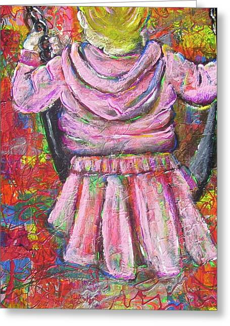 Child Swinging Paintings Greeting Cards - Push Me Daddy Greeting Card by Jacqueline Athmann