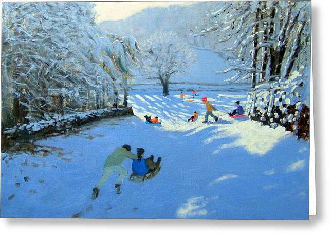Toboggan Greeting Cards - Pushing the Sledge Greeting Card by Andrew Macara