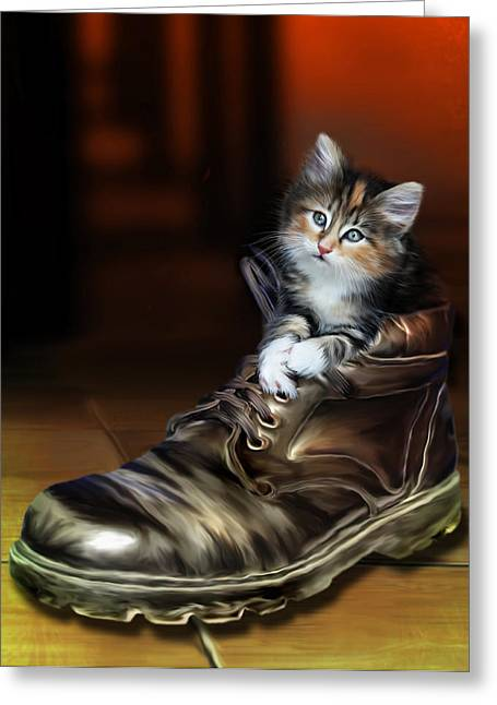 Boots Digital Greeting Cards - Puss in Boot Greeting Card by Julie L Hoddinott