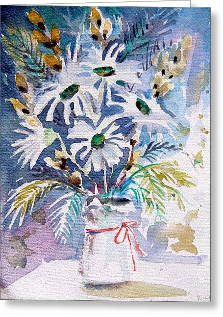 Office Plants Drawings Greeting Cards - Pussy Willow and Daisies Greeting Card by Mindy Newman