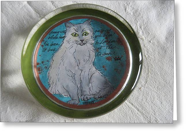 Glass Art Greeting Cards - Pussycat 4 Greeting Card by Victoria Heryet