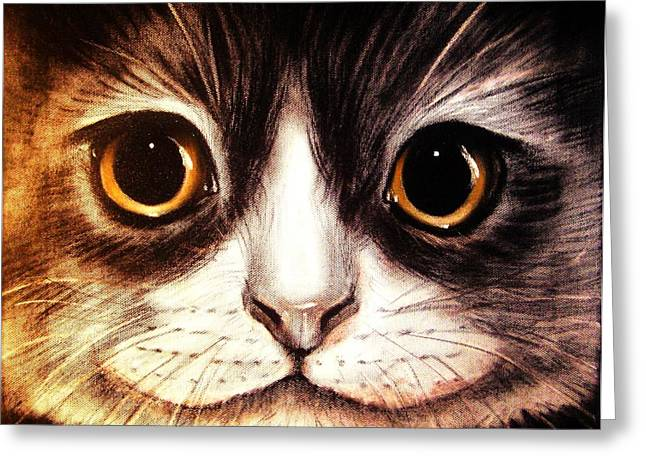 Tasos Greeting Cards - Pussycat Greeting Card by Anastasis  Anastasi