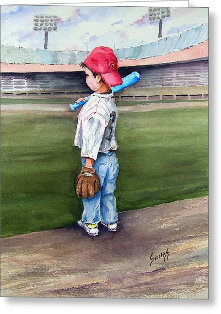 Baseball Bat Greeting Cards - Put Me In Coach  Greeting Card by Sam Sidders