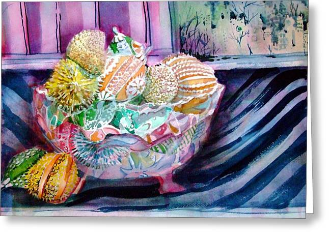 Glass Bowls Greeting Cards - Puttin on the Glitz Greeting Card by Mindy Newman