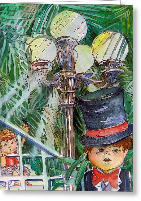 Recreation Mixed Media Greeting Cards - Putting on my Top Hat Greeting Card by Mindy Newman