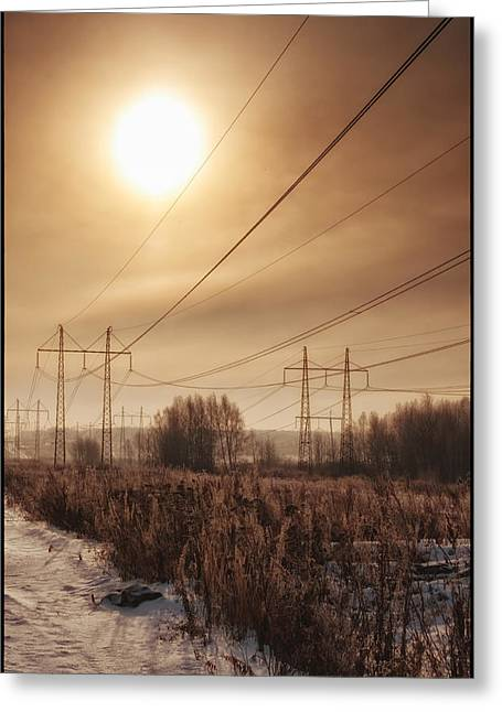 Pylons Greeting Card by Mark Britten