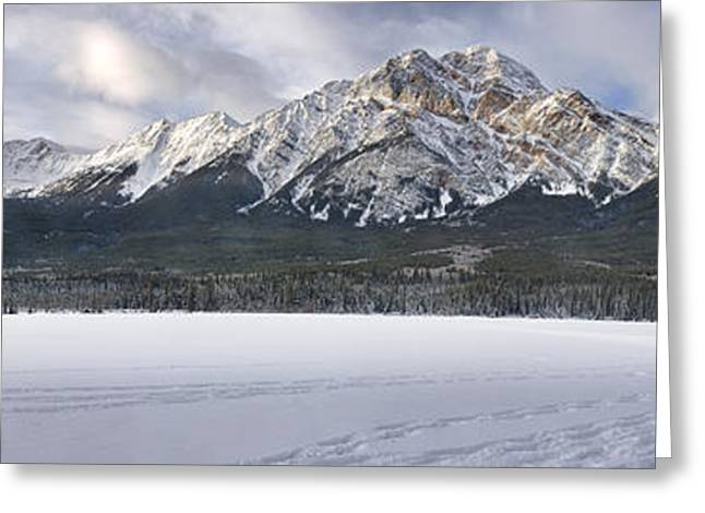 Pyramid Mountain Greeting Cards - Pyramid Mountain in Jasper National Park Greeting Card by Randall Nyhof