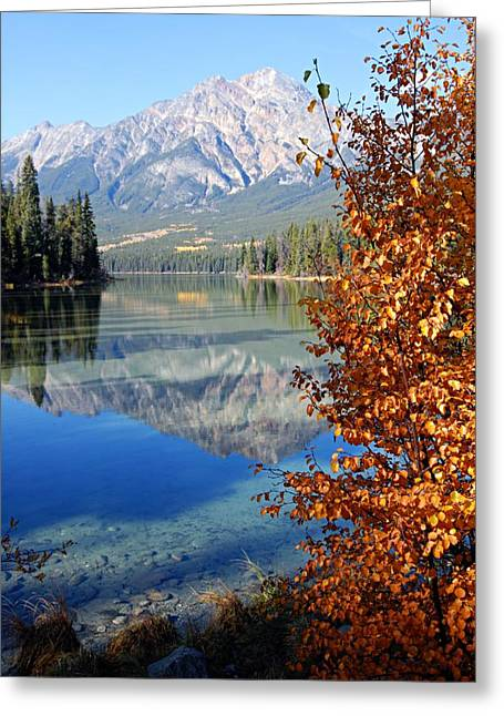 Pyramid Mountain Greeting Cards - Pyramid Mountain Reflection 2 Greeting Card by Larry Ricker