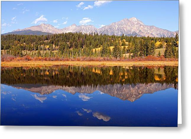 Pyramid Mountain Greeting Cards - Pyramid Mountain Reflection Greeting Card by Larry Ricker
