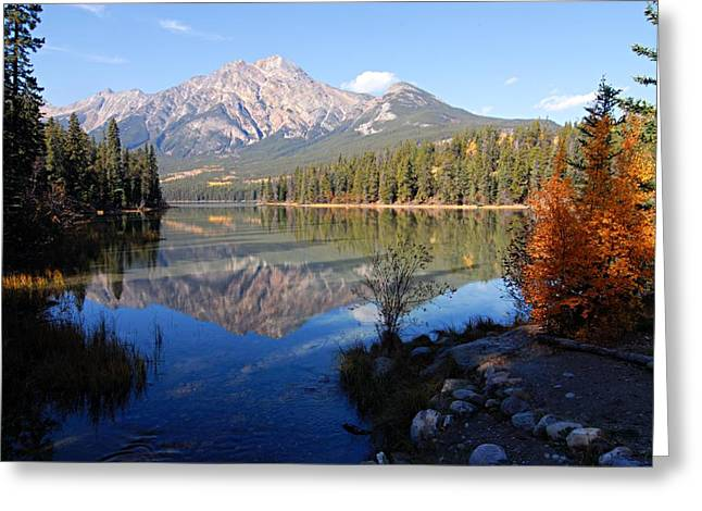 Lhr Images Greeting Cards - Pyramid Moutain Reflection Greeting Card by Larry Ricker