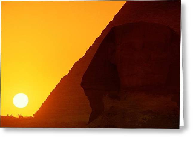 Pharaoh Greeting Cards - Pyramid Of Pharaoh Khafre, Sunset View Greeting Card by Kenneth Garrett