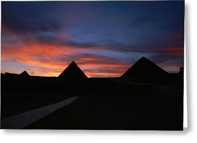 Pyramids Greeting Cards - Pyramids Of Giza At Sunset. From Left Greeting Card by Kenneth Garrett