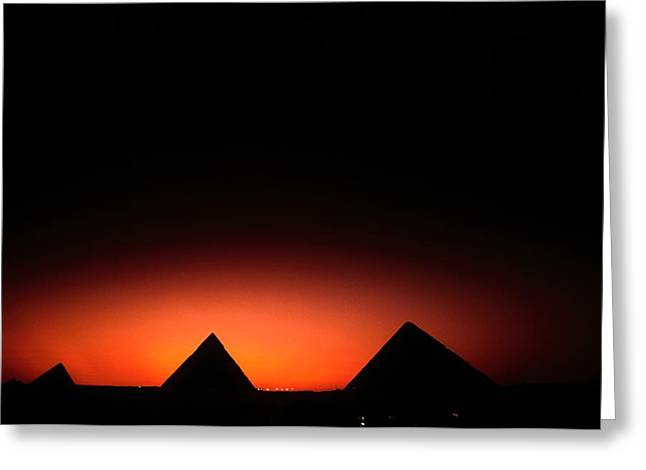 Pyramids Greeting Cards - Pyramids Of Giza At Sunset Greeting Card by Kenneth Garrett