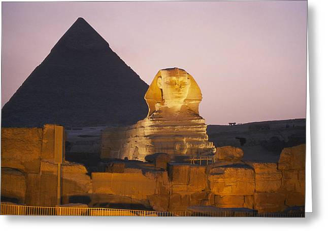 Pyramids Greeting Cards - Pyramids Of Giza With The Great Sphinx Greeting Card by Richard Nowitz