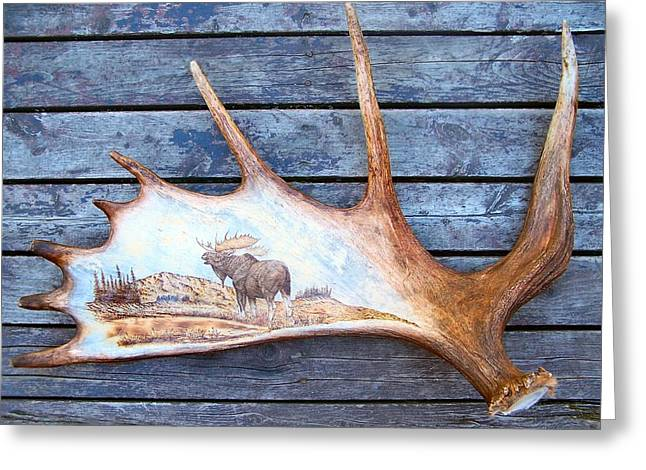 Hunting Pyrography Greeting Cards - Pyrography on Moose Horn Greeting Card by Adam Owen