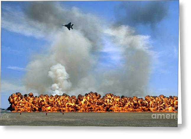 Pyrotechnics Greeting Cards - Pyrotechnics Explode While An F-15 Greeting Card by Stocktrek Images